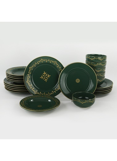 Keramika Keramika Riva Yeşil Gold Yemek Takımı 24 Parça 6 Kişilik Renkli